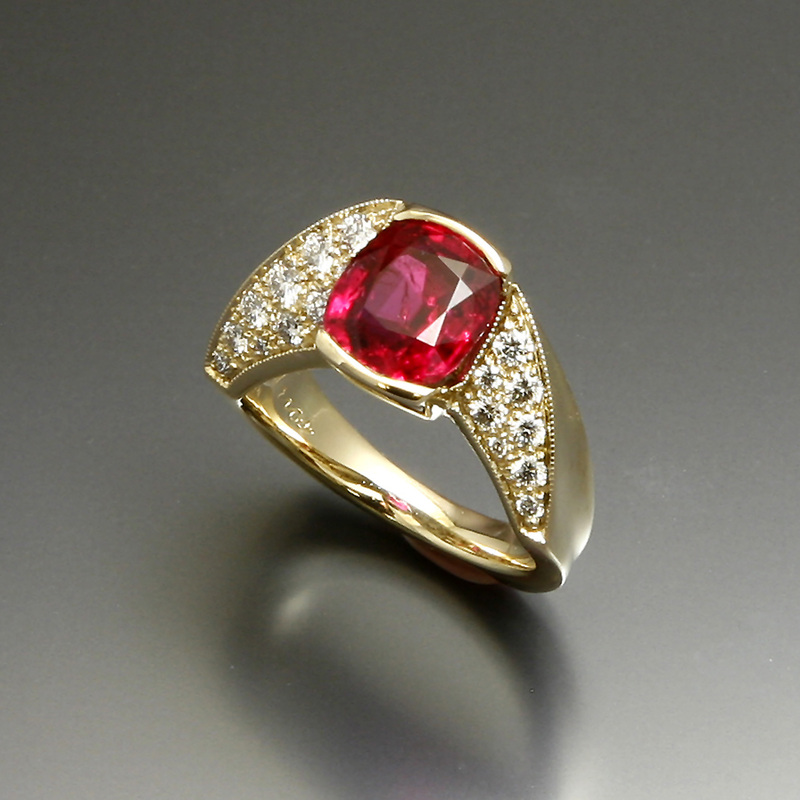 Amazing ruby and pave diamonds in custom ring