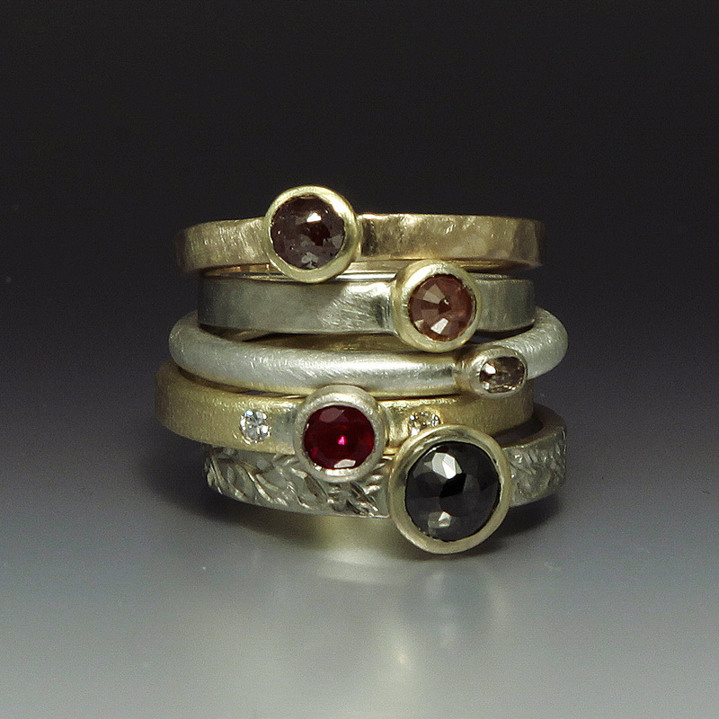 Stack rings set with rustic diamonds