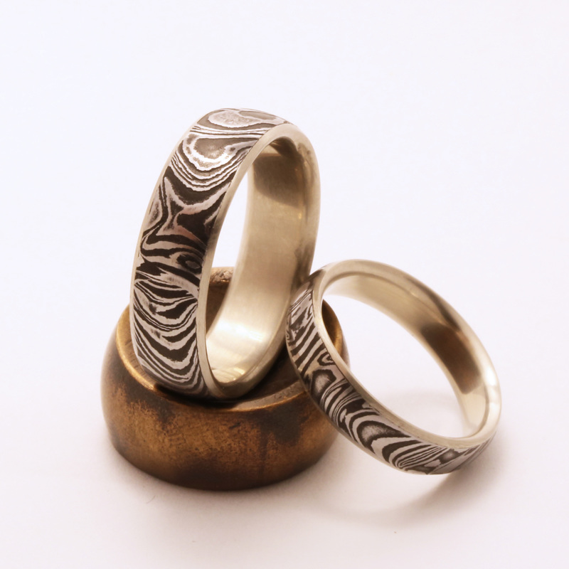 etched forged bands vulcan rings steel stainless damascus deep lined band hand solid metal rg wedding